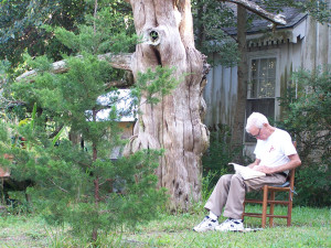 Richard under tree with Bible